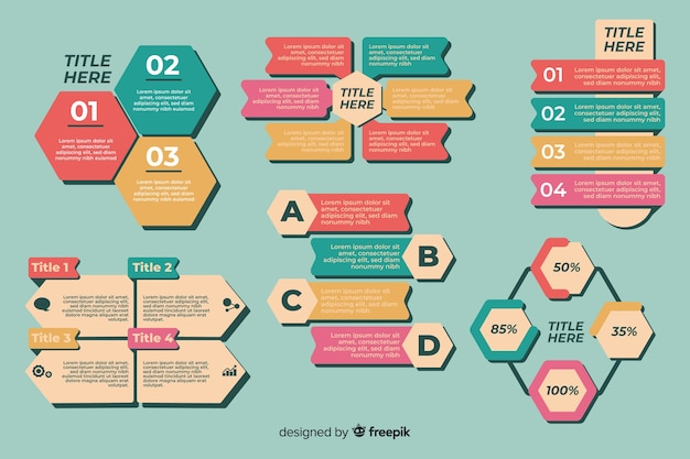 Collection of infographic elements flat design