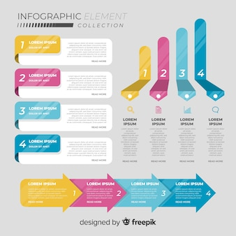 Collection of infographic elements in flat style