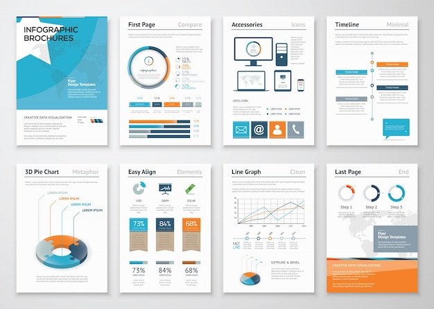 コレクションビジネスパンフレットのためのインフォグラフィックエレメント