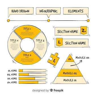 Collection of infographic elements in hand drawn style