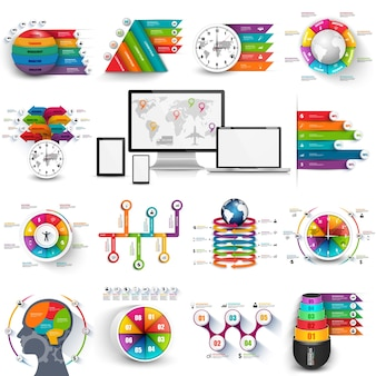 Collection of infographic vector design template. can be used for workflow processes, bann