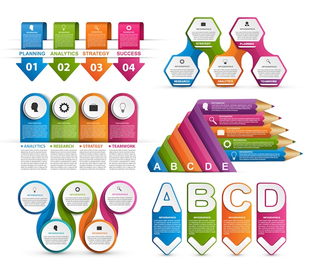 Collection infographics for business presentations.