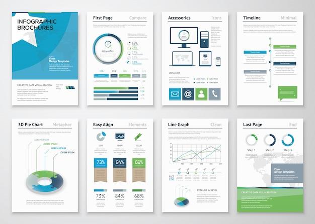 ビジネスパンフレットのためのインフォグラフィックス要素