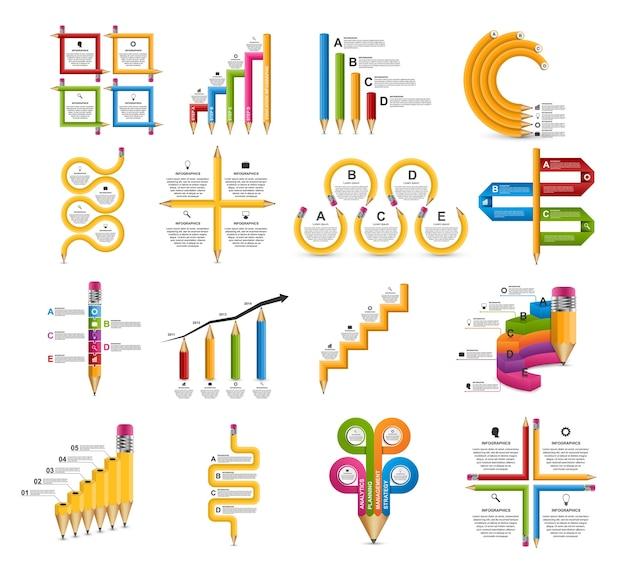 コレクションパンフレットのためのインフォグラフィックス。