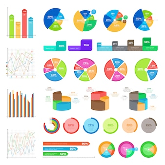 Collection of infographics on white. vector round diagrams with percentages and column charts in flat style