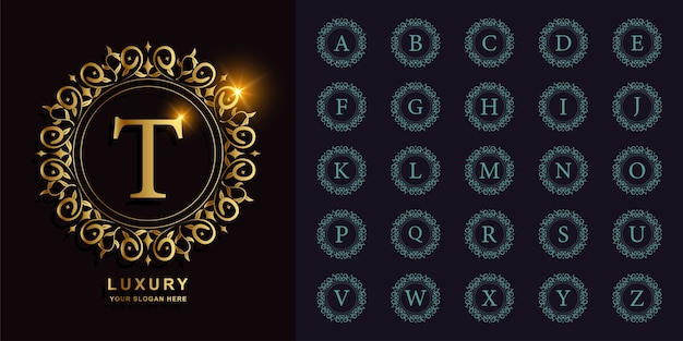 Collection initial alphabet with luxury ornament or floral circle frame golden logo template.