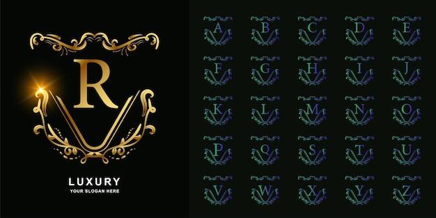 고급 장식 꽃 프레임 황금 로고 템플릿 컬렉션 초기 알파벳