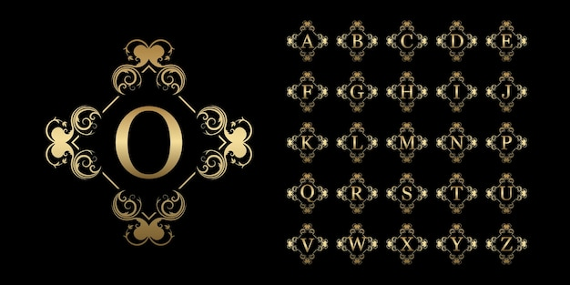 Collection initial alphabet with luxury ornament floral frame golden logo template.