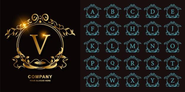 豪華な飾りまたは花のサークルフレームの黄金のロゴのテンプレートとコレクションの最初のアルファベット。