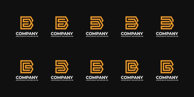 Collection of initial letter b monogram logo design template