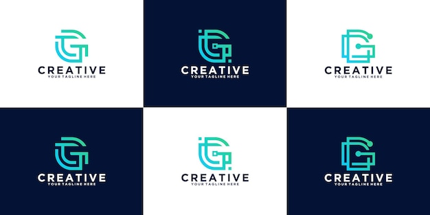 Collection of initial letter g design logos in line style, for business, and technology companies