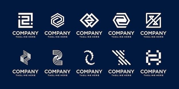 ファッションデジタル技術のビジネスのためのコレクションの頭文字zロゴアイコンセットデザイン