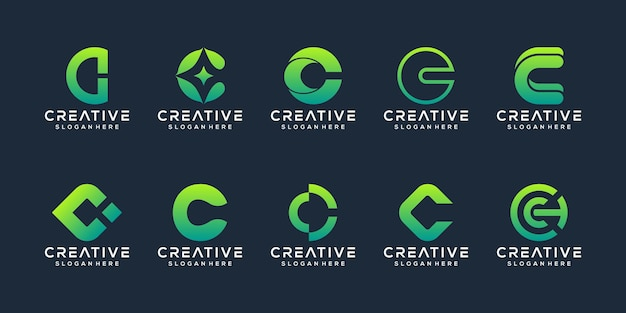 Collection initials c logo template Premium Vector