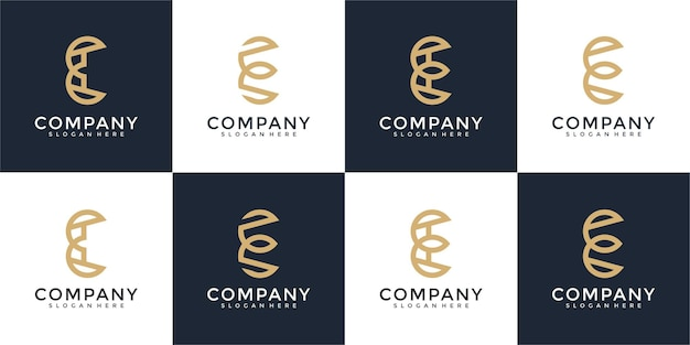 컬렉션 이니셜 e 로고 디자인 서식 파일