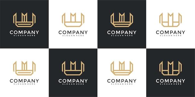 コレクションのイニシャルwロゴデザインテンプレート