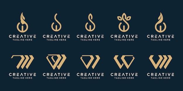 コレクションのイニシャルwロゴテンプレート。ファッションのビジネスのためのアイコン、シンプル。