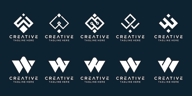Коллекция инициалов w логотип шаблон.