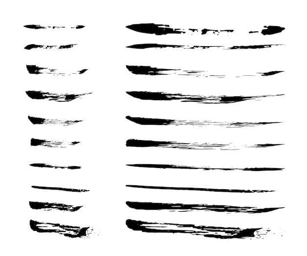 Collection of ink brush strokes
