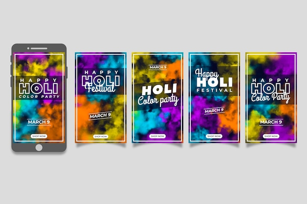 Collection of instagram stories for holi festival
