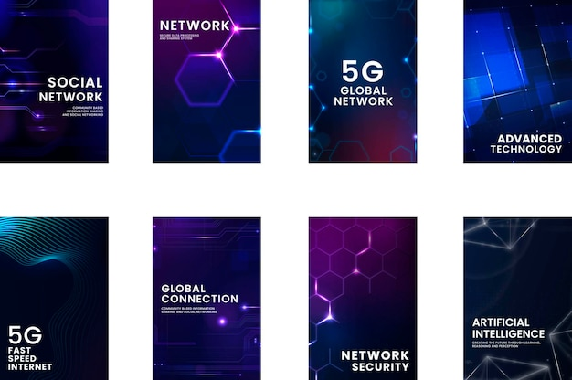 Collection of instagram stories with 5g and technology concept