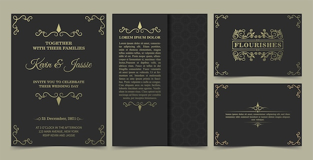 コレクションの招待カードデザインビンテージスタイル