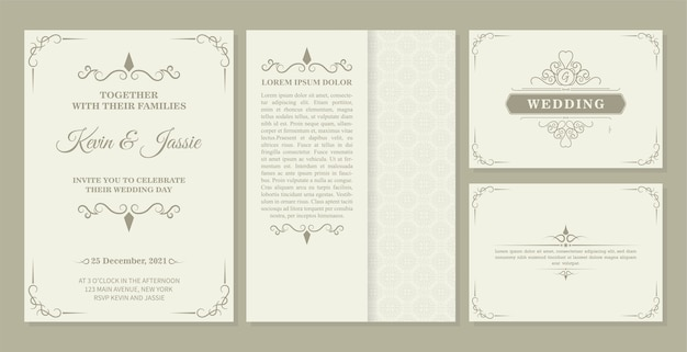 Collection invitation card   design vintage style