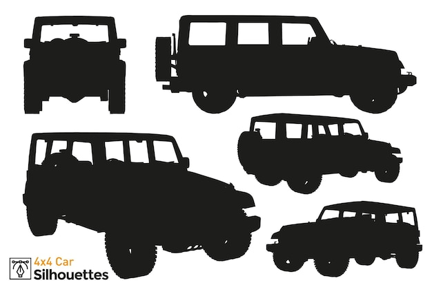 Collection of isolated 4x4 car silhouettes.
