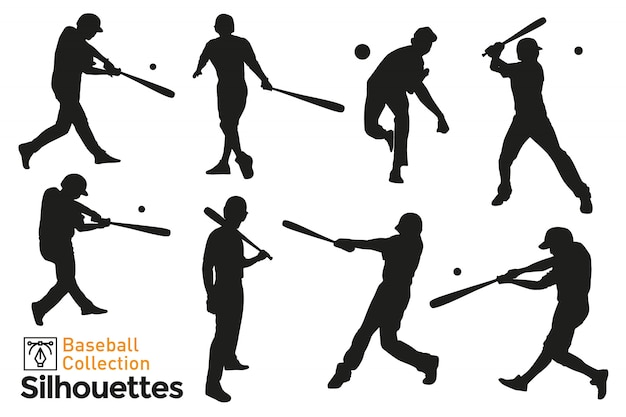 Collection of isolated baseball players silhouettes. premium vector.