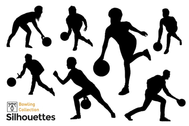 Collection of isolated bowling players silhouettes. people in different poses having fun.
