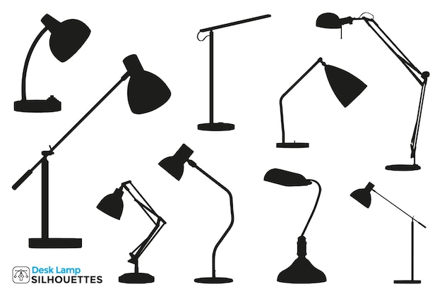 Collection of isolated desk lamp silhouettes in different views.