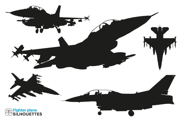 Collection of isolated fighter plane silhouettes in different views.
