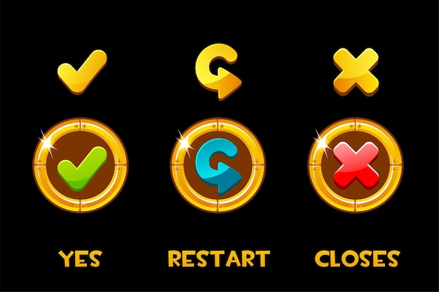 Collection of isolated golden yes, restart and closes buttons and icons