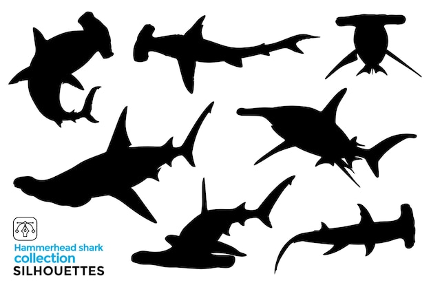 Collection of isolated hammerhead shark silhouettes in different poses.