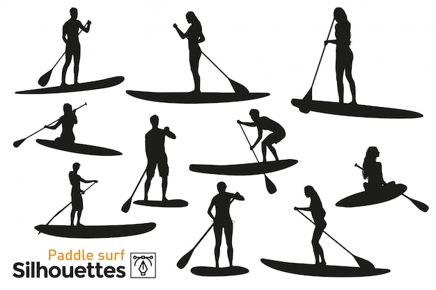 Collection of isolated paddle surf silhouettes. premium