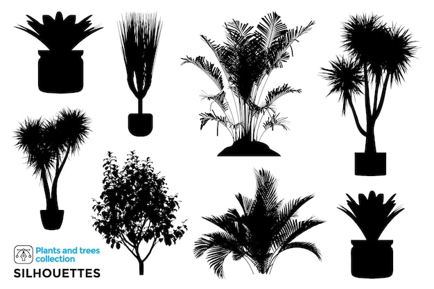 Collection of isolated plant and tree silhouettes in garden pots
