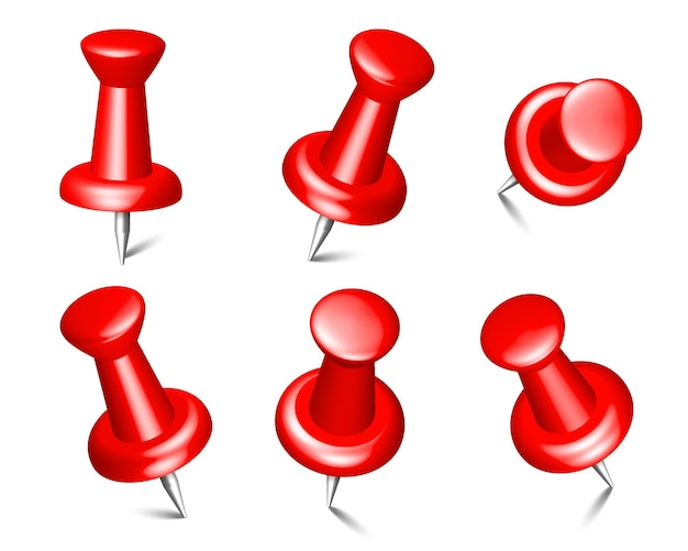 Collection of isolated red push pins thumbtacks for board notices and paper notes