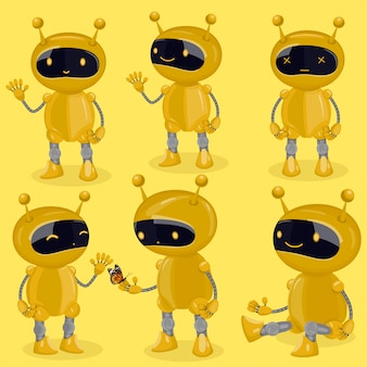 Collection isolated robot in cartoon style showing different emotions. yellow cute  robots.