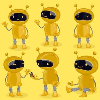 Коллекция изолированных роботов в мультяшном стиле, показывающих разные эмоции. желтые милые роботы.