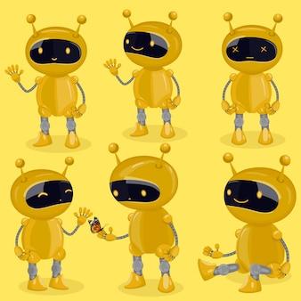다른 감정을 보여주는 만화 스타일의 컬렉션 격리 된 로봇. 노란색 귀여운 로봇.