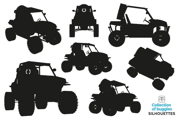 Collection of isolated silhouettes of buggies in different views.