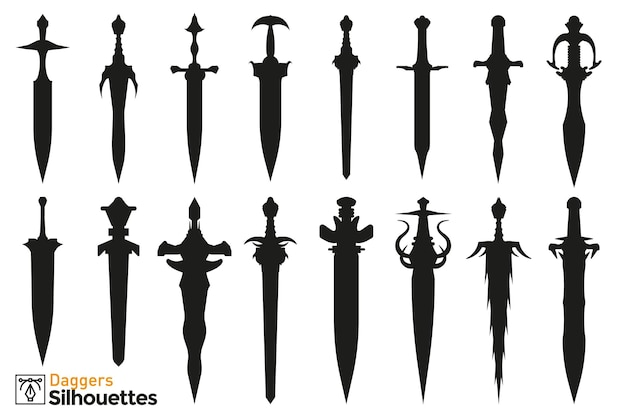 Collection of isolated silhouettes of different medieval and fantasy daggers.