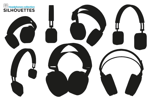 Collection of isolated silhouettes of headband headphones in different views