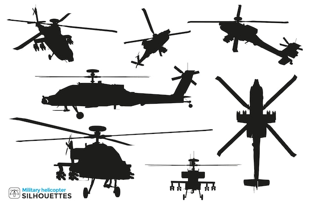 Collection of isolated silhouettes of military combat and rescue helicopters in different views.