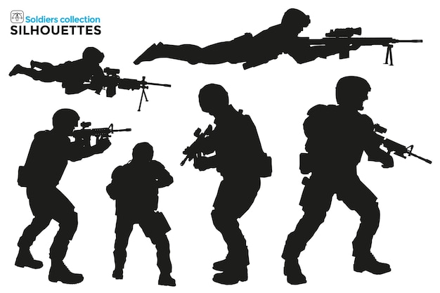 Collection of isolated silhouettes of military men in tactical operations with firearms