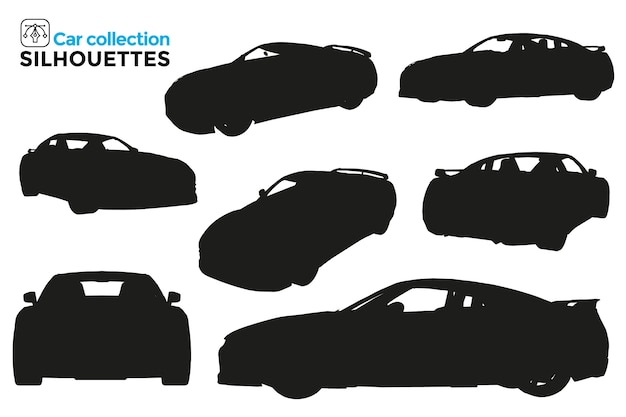 Collection of isolated sports car silhouettes in different views
