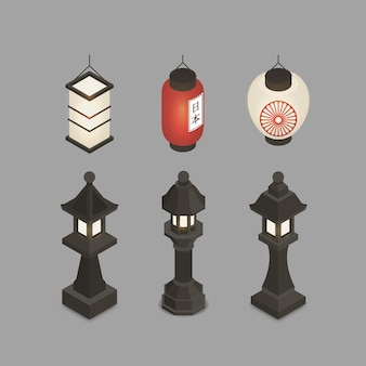 Collection of isometric ancient japanese lantern