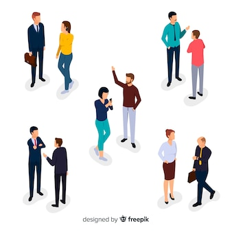 Collection of isometric business people talking
