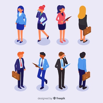 Collection of isometric business people