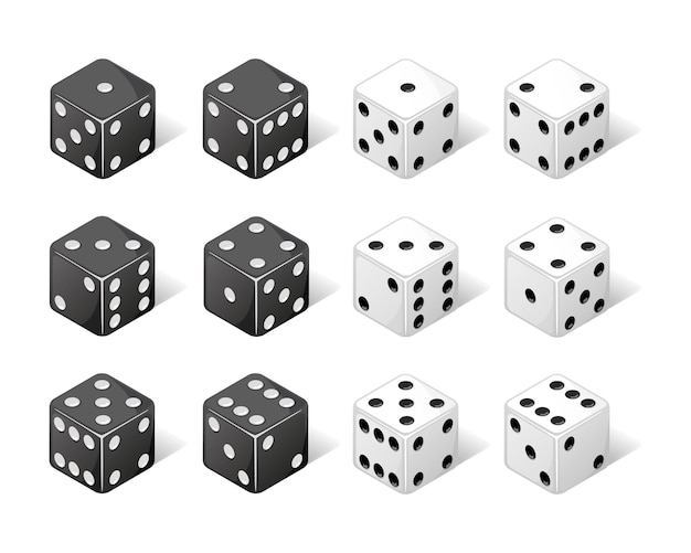 Collection of isometric dice from one to six