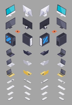 Collection of the isometric electronic hardware.